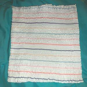 white with stripes tube top